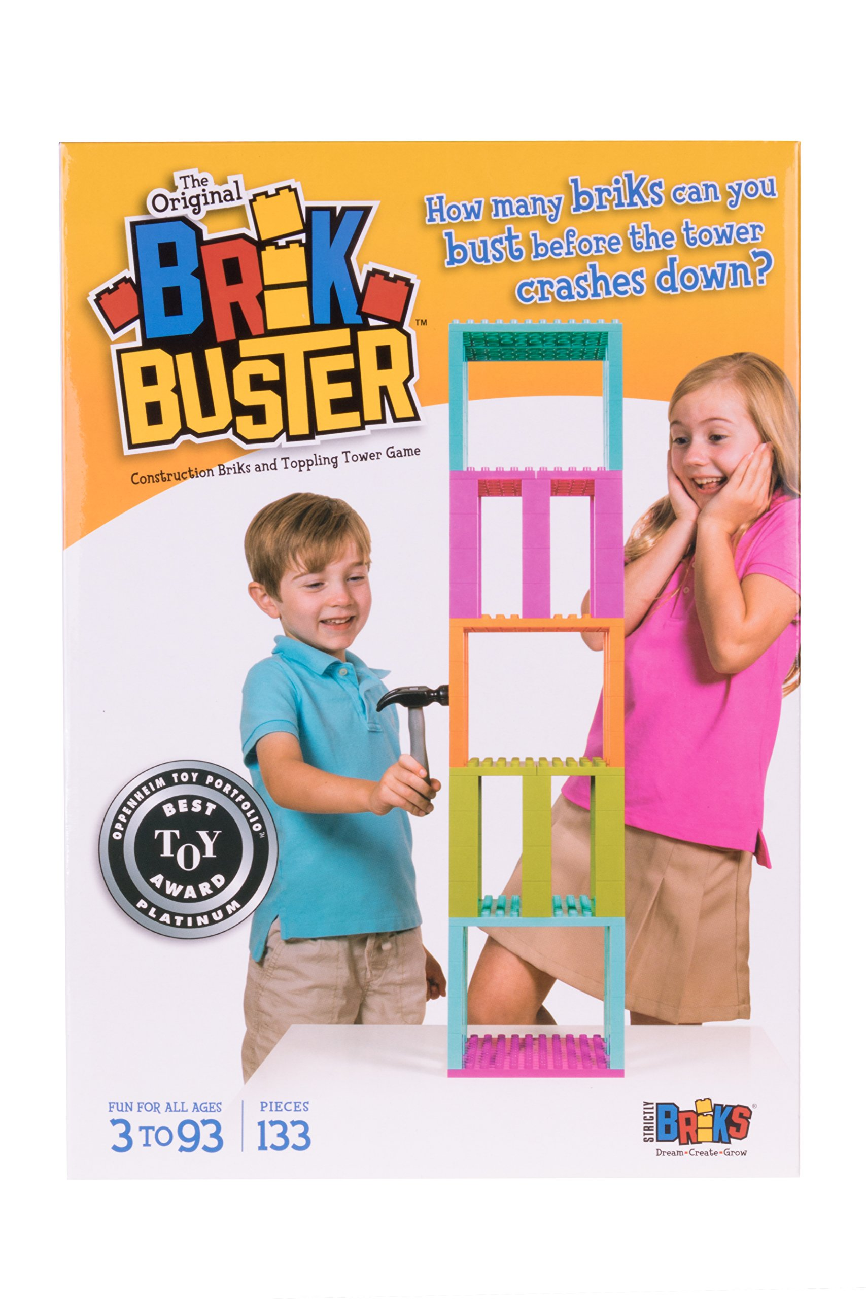 Strictly Briks Brik Buster Tower Toppling Game by Patent Pending   Stack'em High then Bust'em Down!   Award Winning Game Created by Kids for Kids   Fun for All Ages 3+   2+ Players   133 Pieces