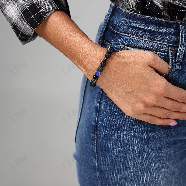 J.F/ée Bracelet de Perles Bracelet Agate Noir Bracelet /Élastique Bracelet 8mm Semi Pr/écieux Bracelet Hommes Cadeau danniversaire Unisexe Saint Valentin F/ête des M/ères