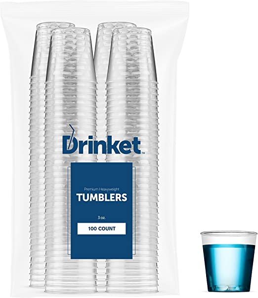 "3.5/"" ht Party Disposable 100 pc Clear Plastic Cups 7Oz."