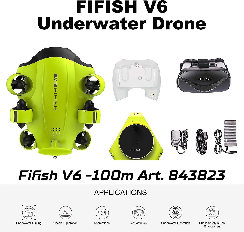 Dron submarino Cámara Fifish V6 QYSEA Amplio Ángulo 162˚ 6 Direcciones de movimiento 4K UHD