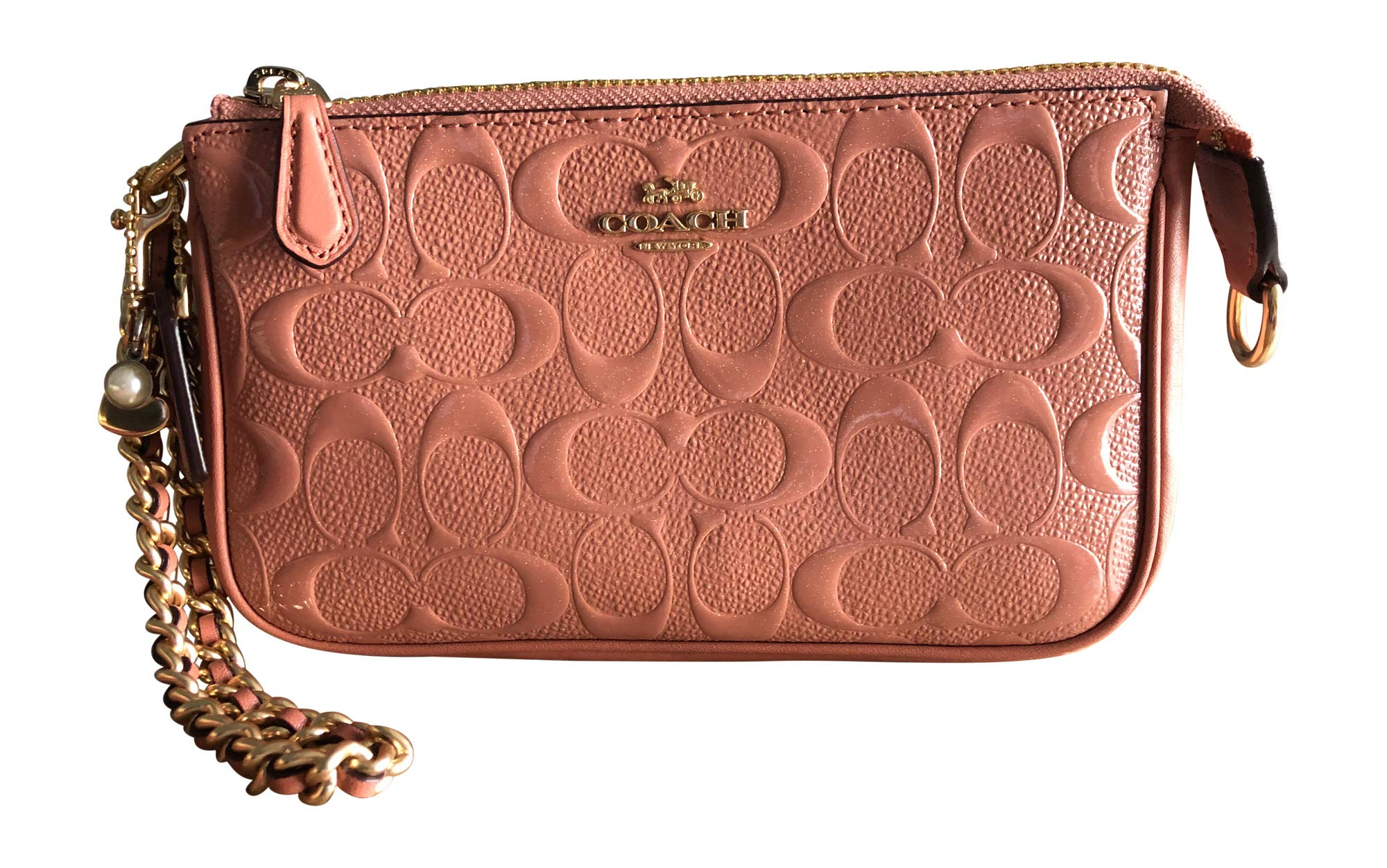 COACH F22698 LARGE WRISTLET 19 IN SIGNATURE LEATHER WITH CHAIN