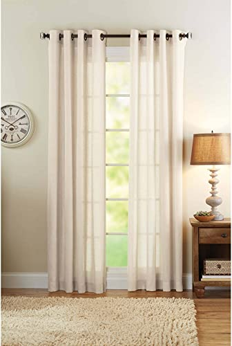 Better Homes and Gardens Semi-Sheer Grommet Curtain Panel 50 x 84 Bleached Linen