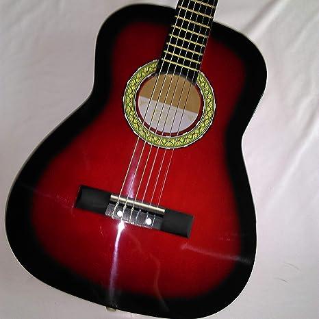 Guitarra clásica – formato 1/2 – rojo y negro: Amazon.es ...