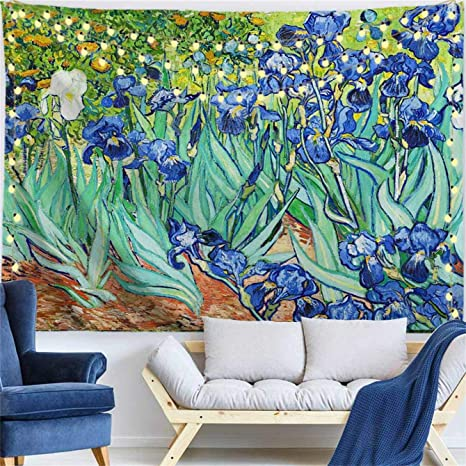 Procida Van Gogh Tapestry Wall Hanging Irises Flower Oil Painting Nature Plant Floral Wall Art Home Decor For Dorm Bedroom Living Room 80 W X 60 L Irises Everything Else