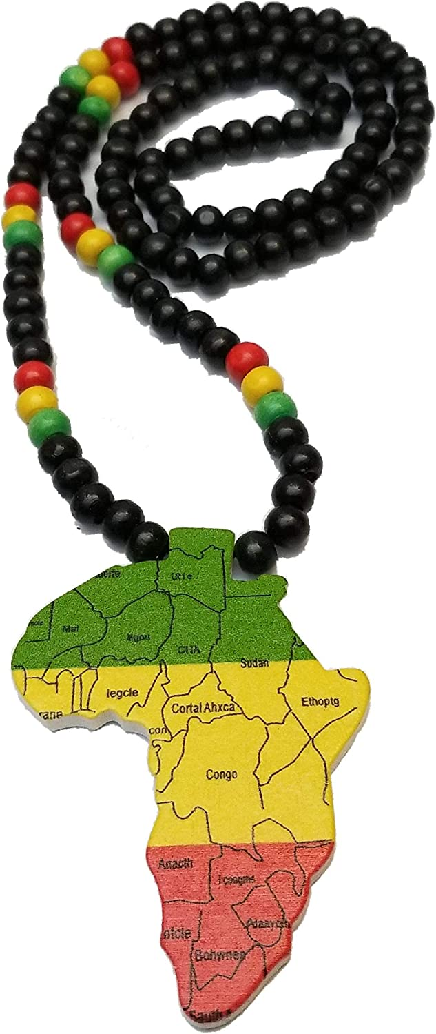 BUNFIREs Black, Brown or Black Wooden Africa Pendant Necklace Beads Chain African map Continent Wood Long