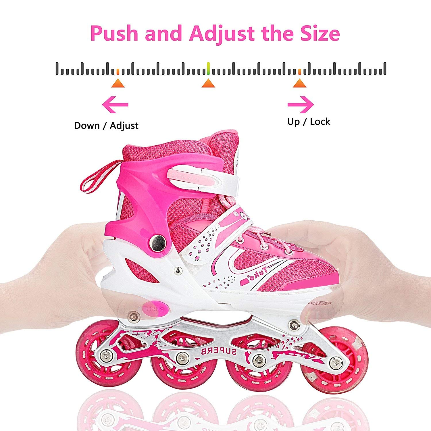 Little Kid US-12M//13M//1M Tuko Adjustable Inline Skates Roller Kids Blades for Girls