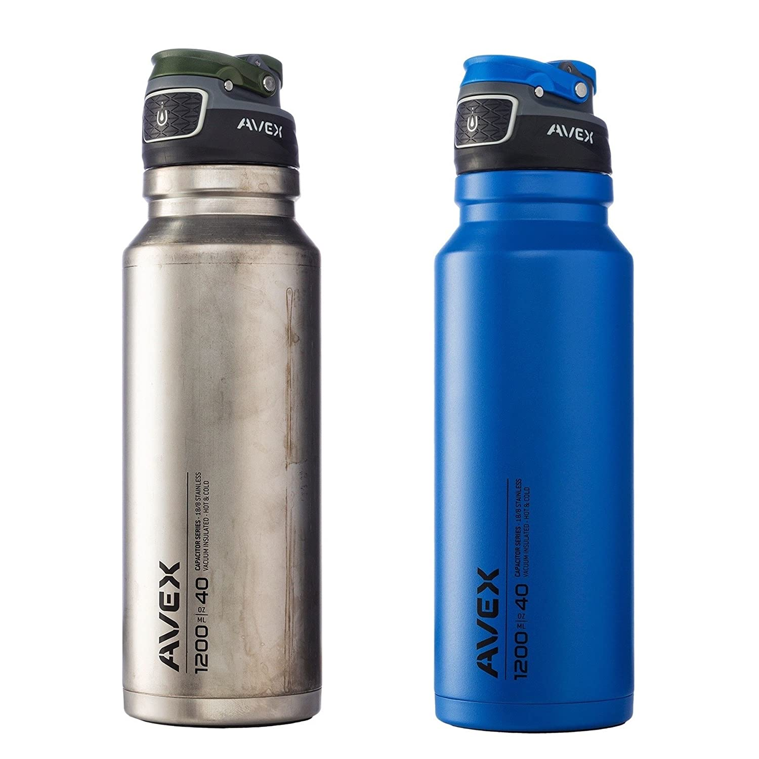 Avex FreeFlow Autoseal 40oz Steel Water Bottle Combo Blau & Unfinished Stainless