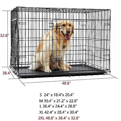 DaYiYang Jaula plegable para mascotas con doble puerta con bandeja de plástico ABS fácil de instalar