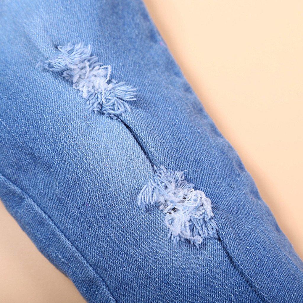 2pcs Kids Baby Girls Ripped Jeans Denim Clothing Set Shirts+Jeans 105/110CM by ShangYi (Image #3)