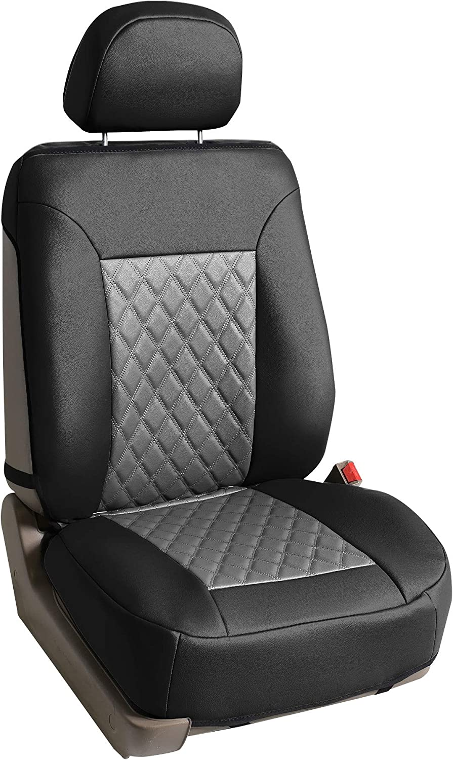 Beige//Black FH-FB063115, Fit Most Car, Truck, Suv, or Van FH Group Universal Fit Full Set Cloth Car Seat Cover with Piping Airbag /& Split Ready,