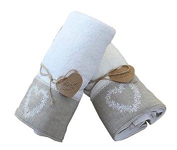 Blanc Mariclo - juego de toallas de con corazón, color blanco: Amazon.es: Hogar