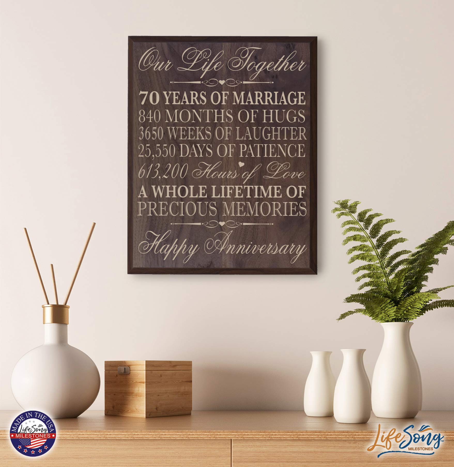 70th Wedding Anniversary Wall Plaque Gifts for Couple Parents, 70th for Her,him 70th Wedding for Him 12'' W X 15'' H Wall Plaque (Grand Walnut) by LifeSong Milestones (Image #4)