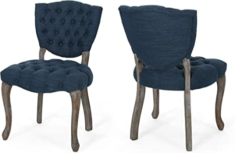 Amazon Com Case Tufted Dining Chair With Cabriole Legs Set Of 2 Navy Blue And Brown Wash Finish Chairs