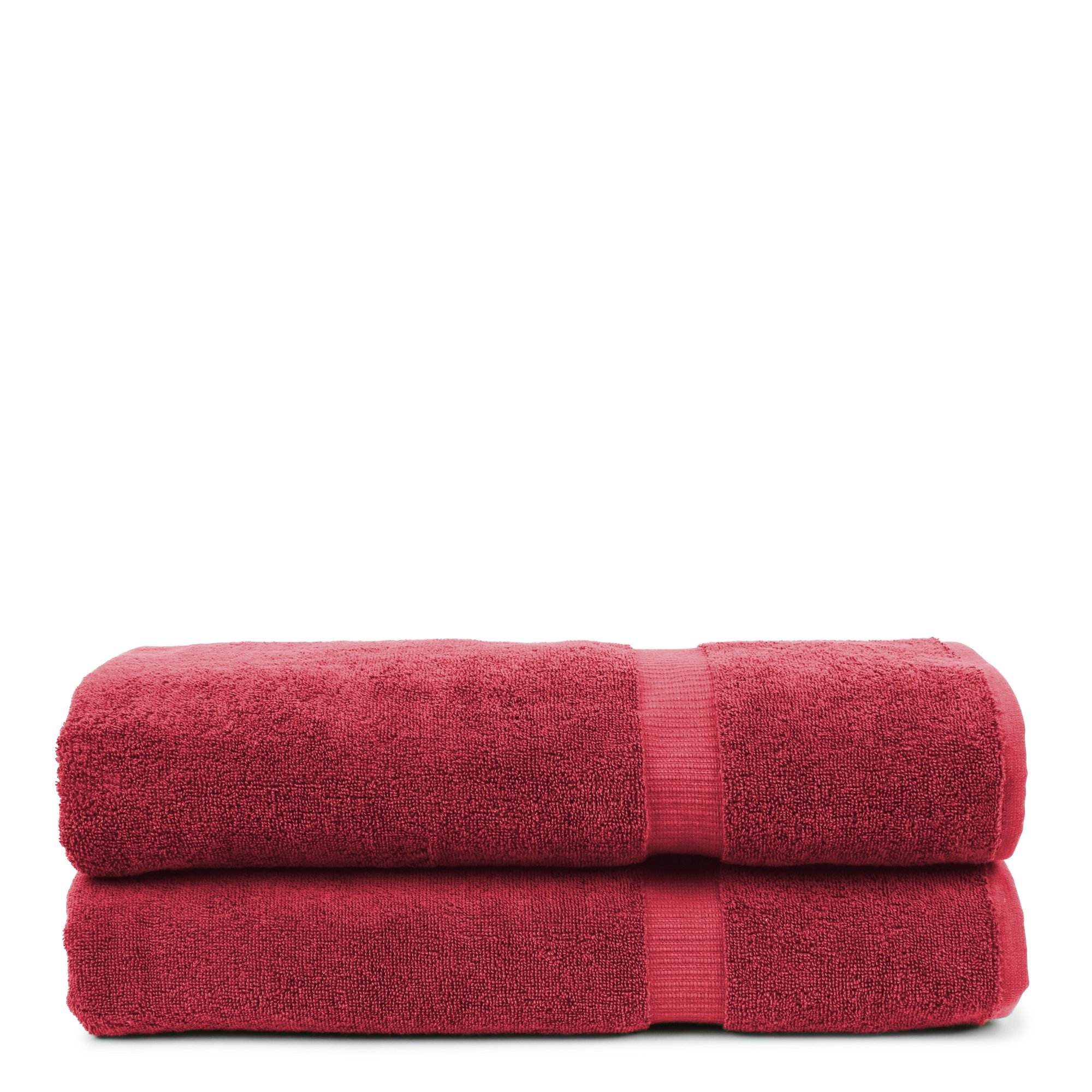 BC BARE COTTON Bare Cotton Luxury Hotel & Spa Towel Turkish Bath Sheets Dobby Border (Cranberry, Bath Sheets - Set of 2)