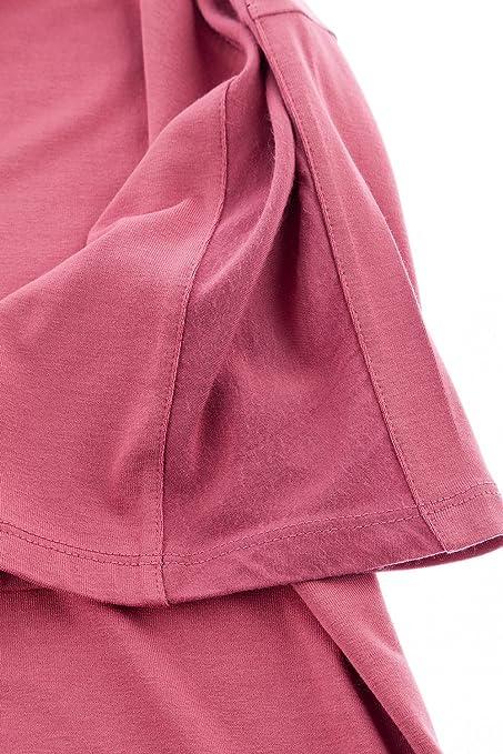 GINA LAURA Damen | bis Größe XXXL | Lässiges T-Shirt | Rundhals mit  Knopfleiste & Kurzarm | Lange Loose-Fit Form | Rose-Nude | Lipstick XL  707636 56-XL: ...