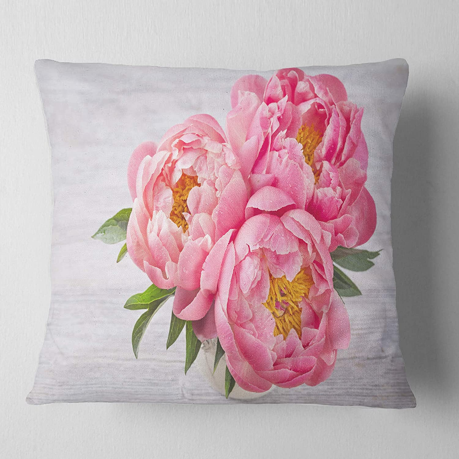 Designart CU14196-26-26 Bunch of Peony Flowers in Vase Floral Cushion Cover for Living Room in Sofa Throw Pillow 26 in Insert Printed On Both Side x 26 in