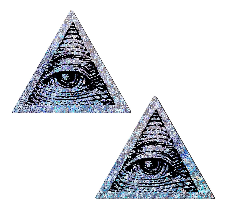 Pastease® Damen Silbernes Glitzer-Dreieck mit Alle sehenden Augen Nippel-Pasteten TRI-GLT-SL-EYE