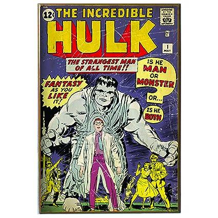 Silver Buffalo Mv8036 Marvel Wood Wall Art Plaque Hulk Comic Book 13 X 19 Inches