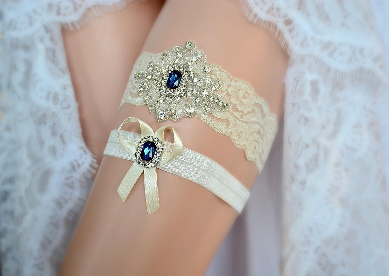 Amazon ivory sapphire blue wedding bridal lace garter set amazon ivory sapphire blue wedding bridal lace garter set keepsake toss tradition vintage clothing junglespirit Image collections