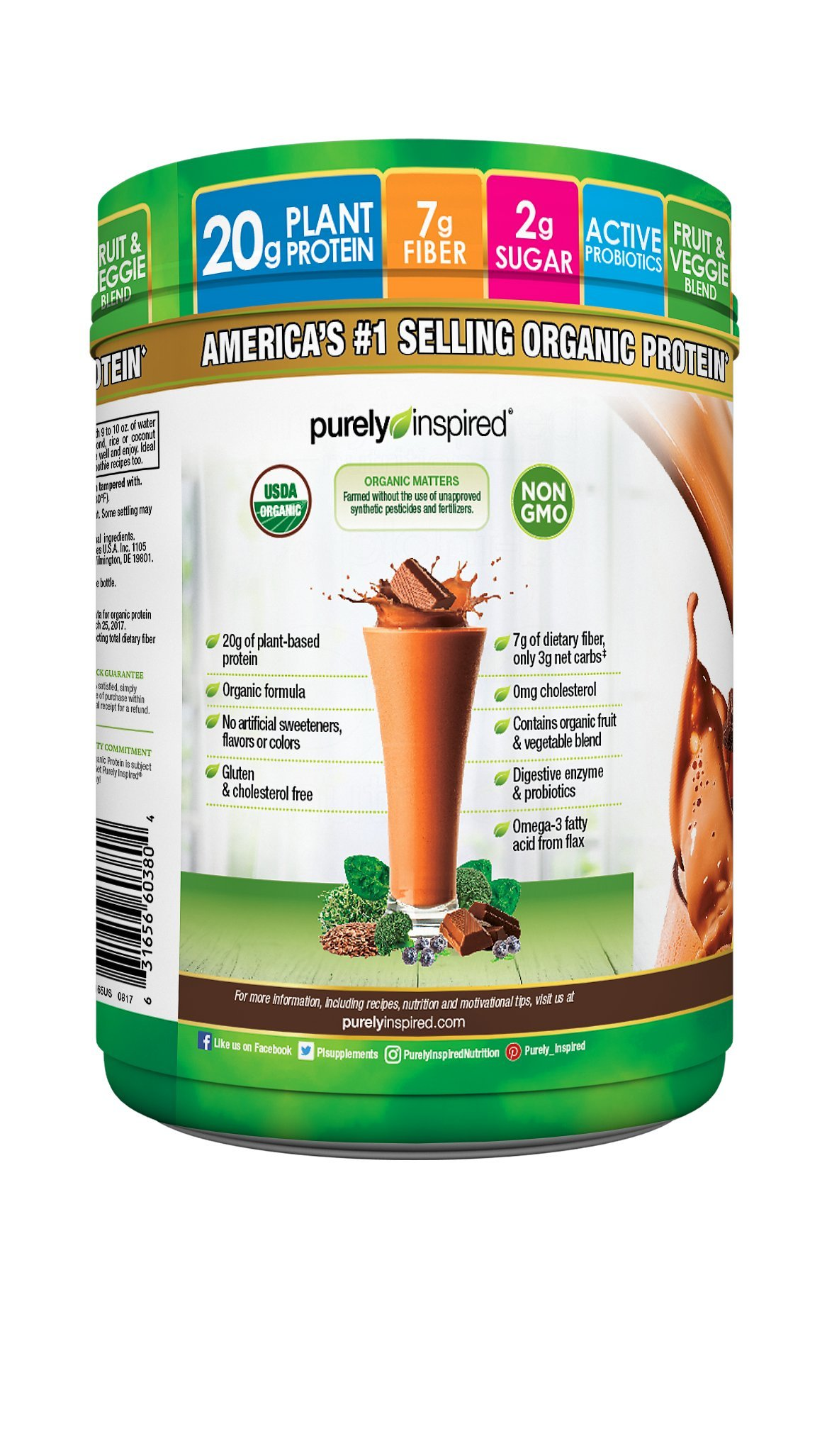 Purely Inspired Organic Protein Shake Powder, 100% Plant Based with Pea & Brown Rice Protein (Non-GMO, Gluten Free, Vegan Friendly), Decadent Chocolate, 1.5lbs by Purely Inspired (Image #7)