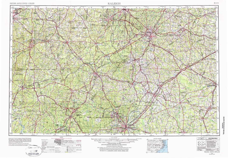 Amazon.com : YellowMaps Raleigh NC topo map, 1:250000 Scale ...