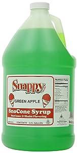 Snappy Popcorn Snow Cone Syrup Gallon, Green Apple, 1 Gallon