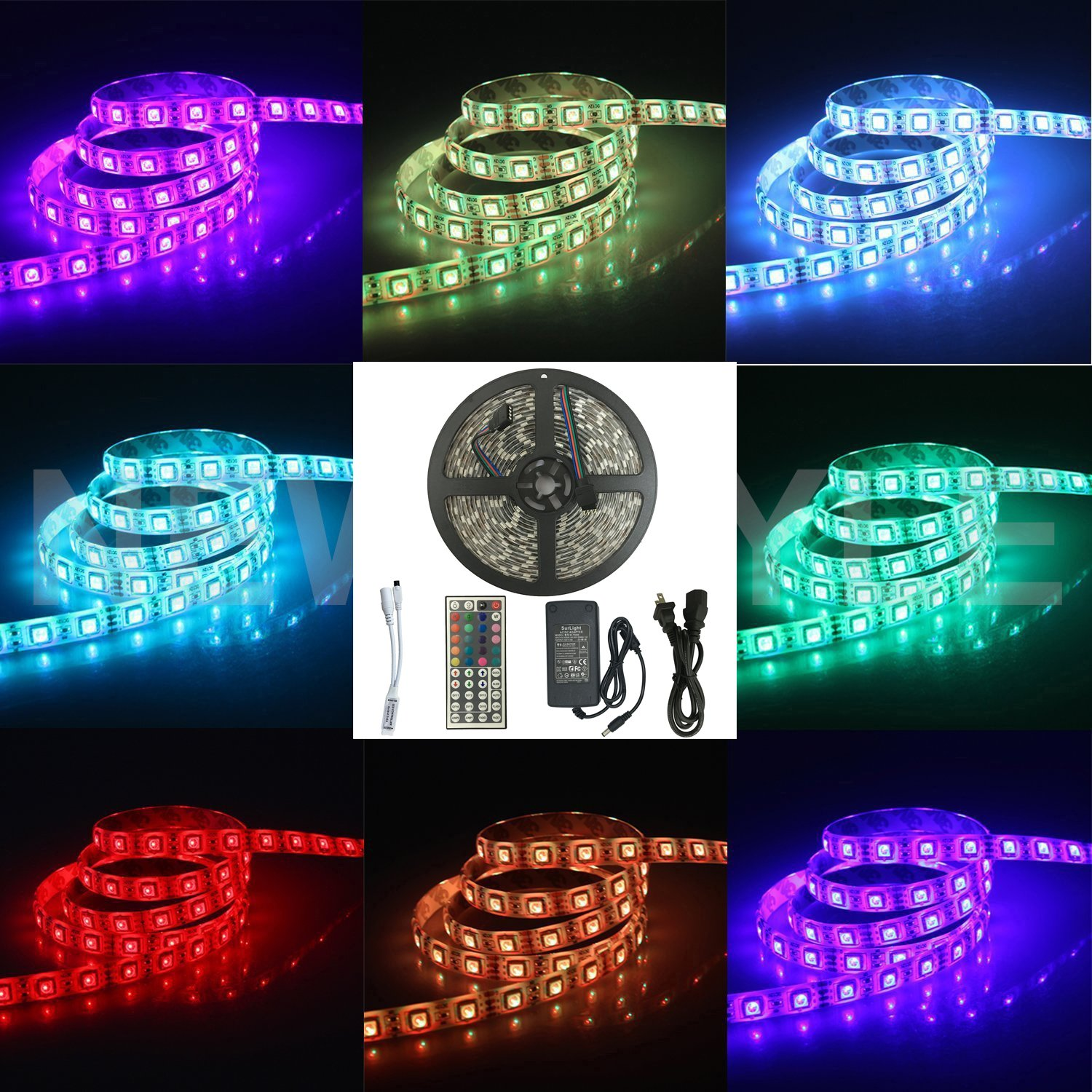 Amazon surlight waterproof 164ft5m 300leds rgb smd5050 amazon surlight waterproof 164ft5m 300leds rgb smd5050 flexible color changing light strip kit with 44 key ir remote control 12v 5a power supply aloadofball