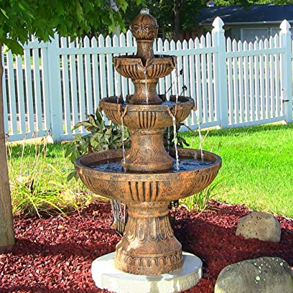 Merveilleux Sunnydaze Flower Blossom Outdoor 3 Tier Garden Water Fountain, 43 Inch Tall