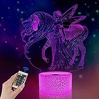 FULLOSUN 3D Unicorn Night Light, Lovely Fairy Baby Nightlight for Bedroom,Remote Control 16 Color Change Illusion Decor…