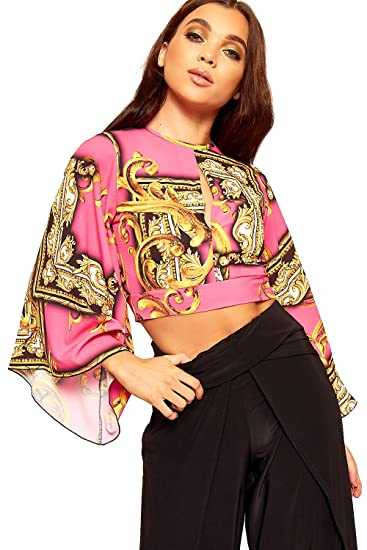 4970cfbe76d604 WearAll Women's Baroque Print Long Flared Sleeve Keyhole Open Back Tied  Crop Top - Pink -