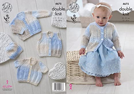 e42a22b0b0c2 King Cole Baby DK Double Knitting Pattern Lacy Long or Short Sleeve ...