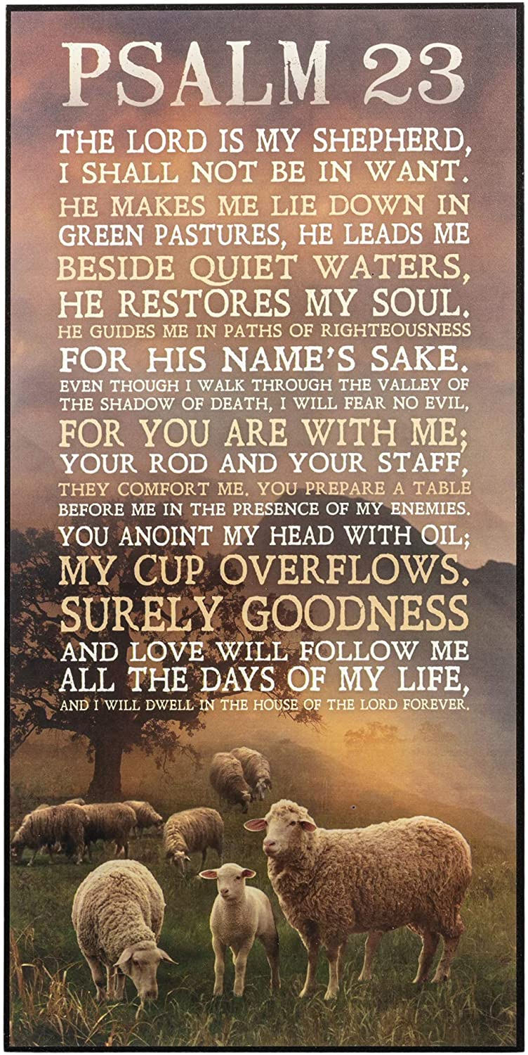P. Graham Dunn Psalm 23 The Lord is My Shepherd Sheep Grazing 16 x 8 Wood Wall Art Sign Plaque