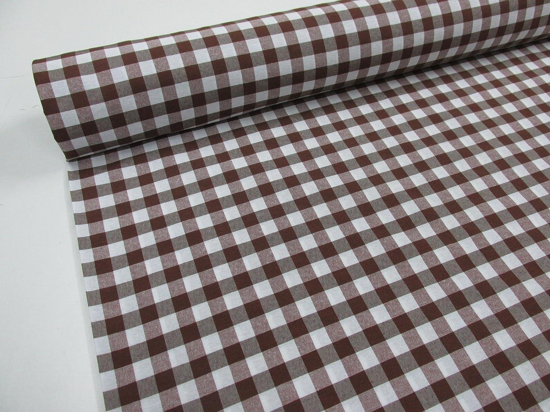 Confección Saymi Metraje 1,40 MTS Tejido Vichy Ref. Cuba Cuadro Medio 15x15 mm. Color Marrón, con Ancho 2,80 MTS.
