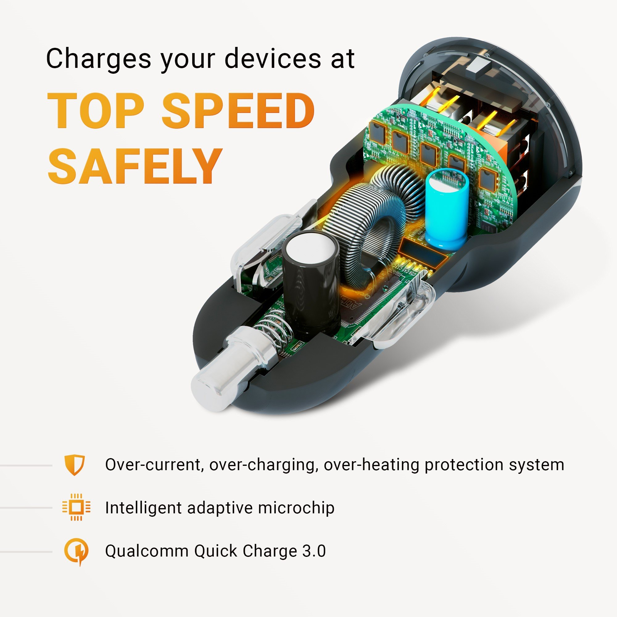 2018 HUSSELL Car Charger. Quick Charge 3.0 + 2.4A Smart IC Dual USB Car Charger Adapter for any iOS or Android Devices: Samsung and More. Car Adapter. Car Charger Adapter. Car Charger USB by HUSSELL (Image #6)