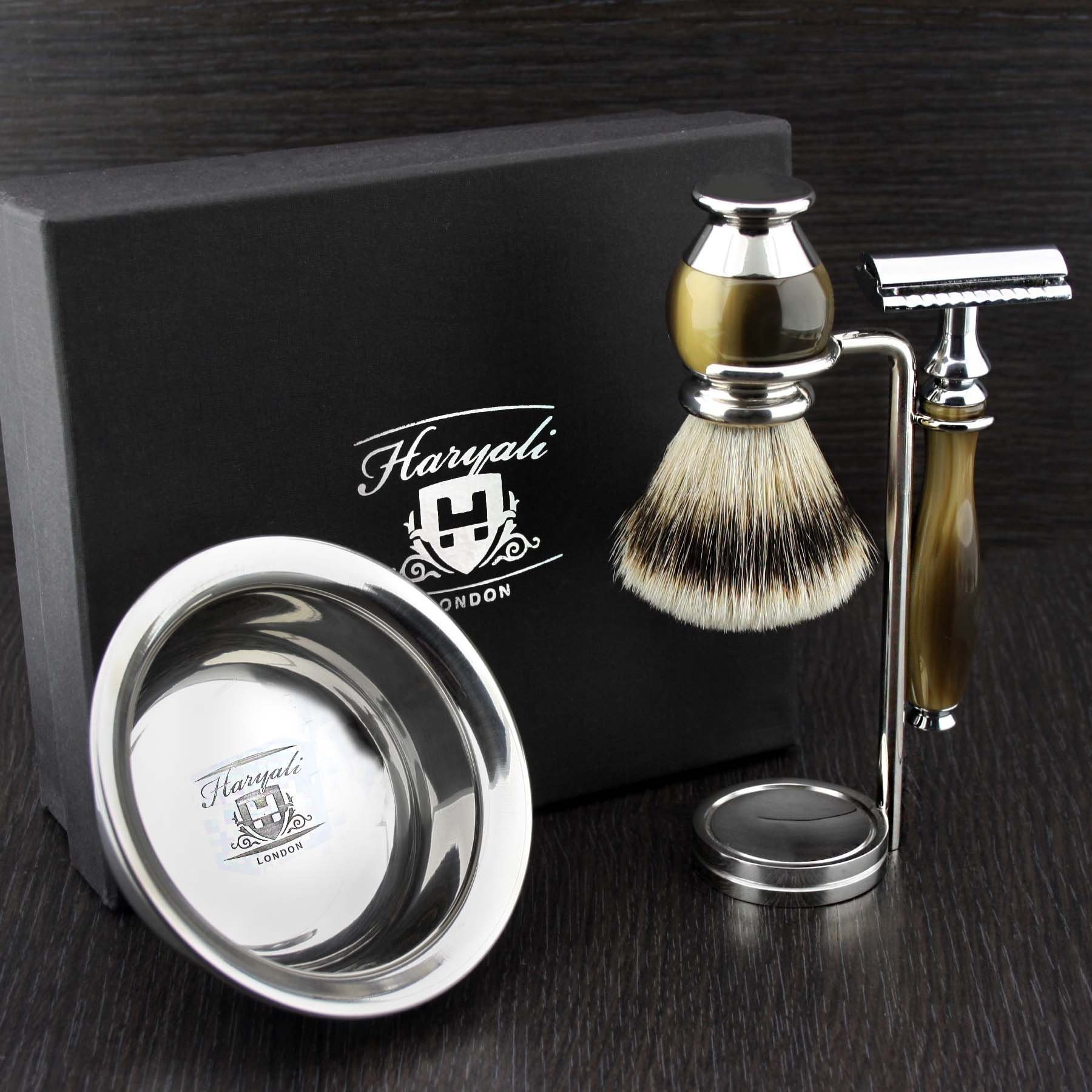 Simulated Horn and Nickel 4 Pieces Men's Shaving Set With De Safety Razor (Blades Not Include). Newly Designed By HARYALI LONDON
