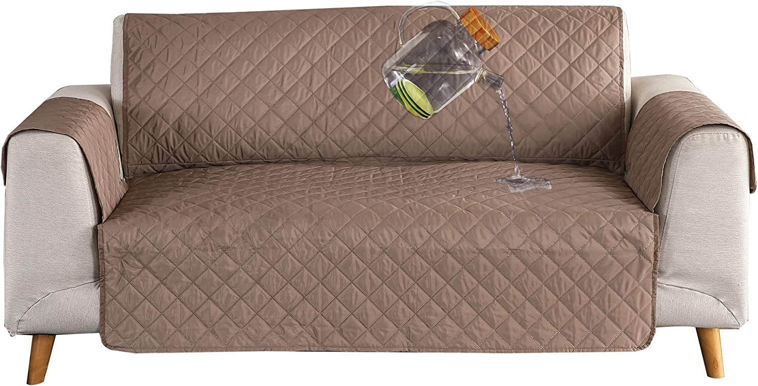 Ease Sofa Couch Cover 100% Waterproof Skidproof Sofa Slipcover Whole Piece Fabric Leather Seat Furniture Protector for Pet Children Kids Cat Dog (Loveseat, Brown/Beige)