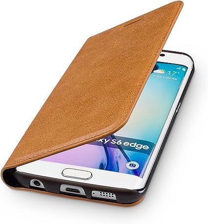 Wiiuka Echt Ledertasche Travel Kompatibel Mit Samsung Galaxy S6 Edge Mit Kartenfach Extra Dünn Tasche Cognac Braun Premium Design Leder Hülle Elektronik