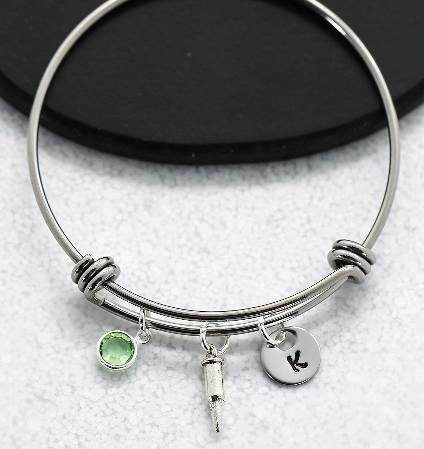 Personalized Size Bullet Bracelet for Women Birthstone Initial Female Hunter Gifts Bullet Jewelry