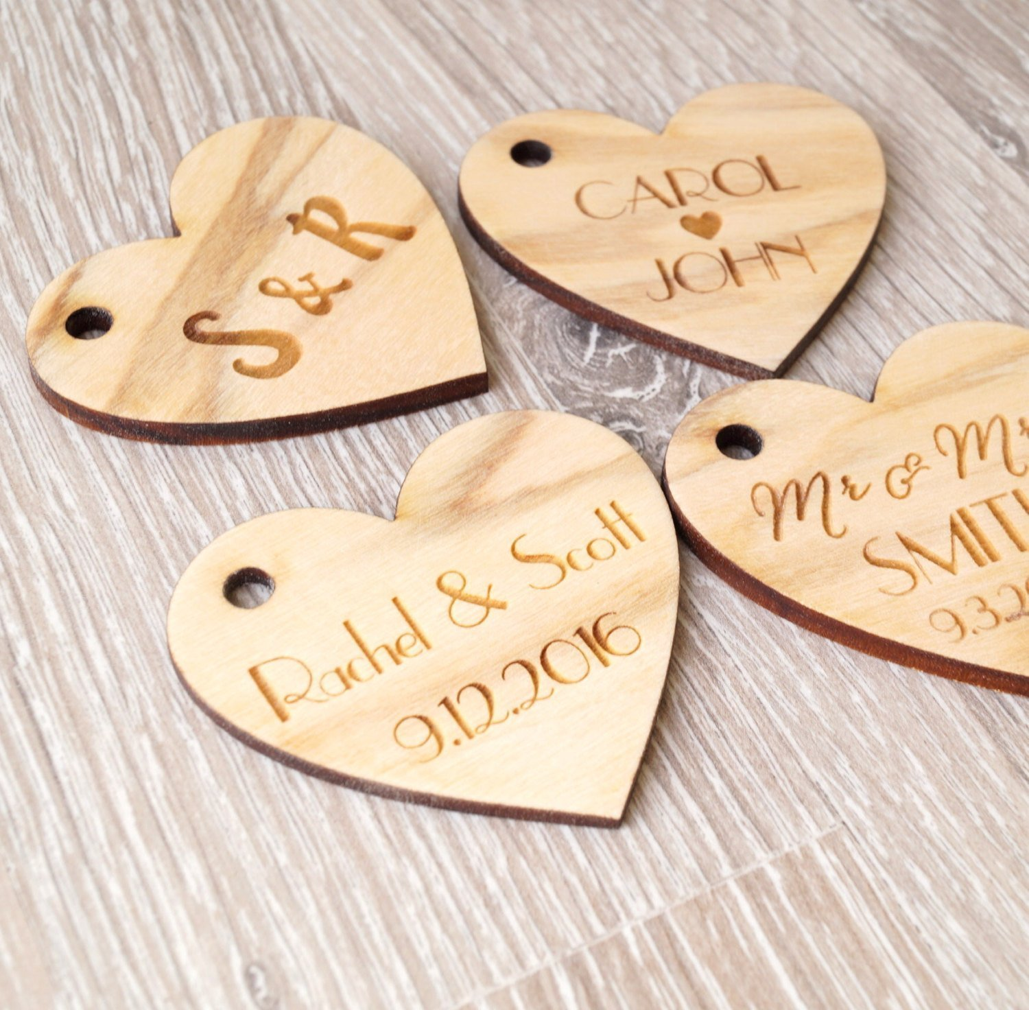 Amazon Wooden Wedding Favor Tags Personalized Wooden Heart