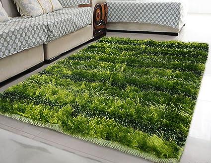 Story@Home Super Soft Premium Striped Polyester Carpet - 36x60, Green