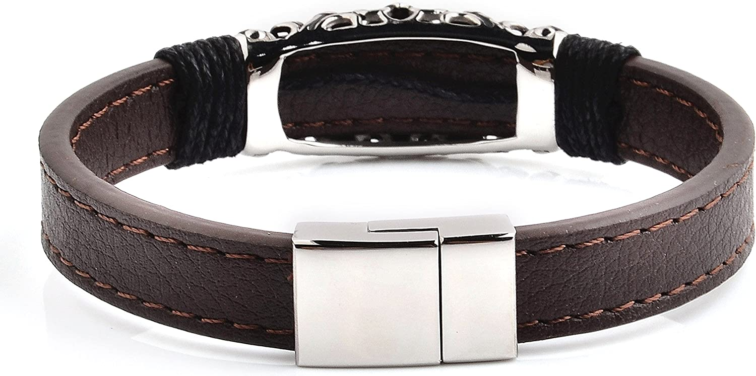 - 8.5 Inches West Coast Jewelry Crucible Antiqued Stainless Steel Cross ID Brown Leather Bracelet 17mm Wide