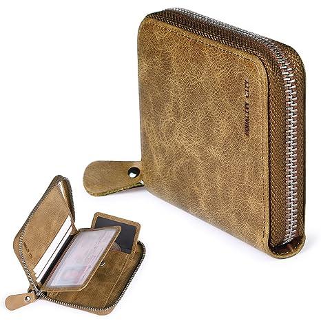 817acdb8d5164 Amazon.com  Trifold Wallet Zipper Men s RFID Blocking Khaki Leather Card  Holder Coin Pocket Gift for Men  pabojoe bag store