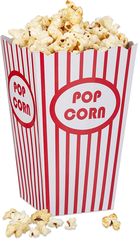 Relaxdays Set de 48 Cajas Palomitas, Popcorn Box, Cubo Rayas, Estilo Retro EE.UU, Cartón, 16 x 12 x 10 cm, Rojo-Blanco
