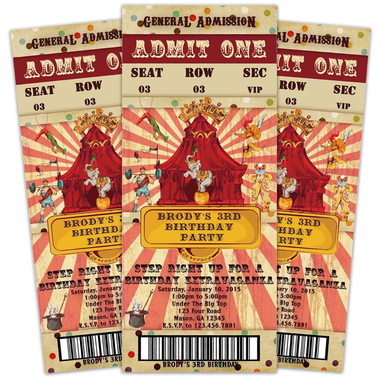 Amazon Vintage Circus Birthday Invitations Admission Ticket Boy Girl Handmade
