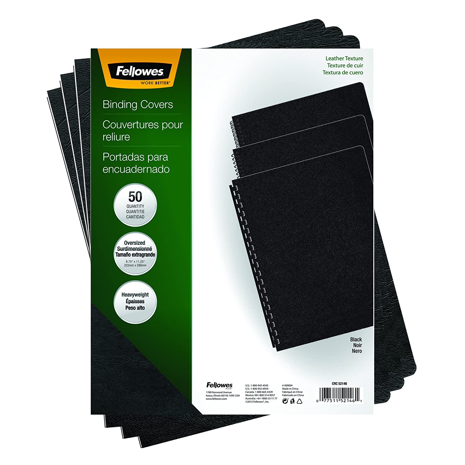 Fellowes Executive Presentation Cover, 11-1/4 x 8-3/4-Inch, 50 Per-Pack, Black (52146) Office Supplies