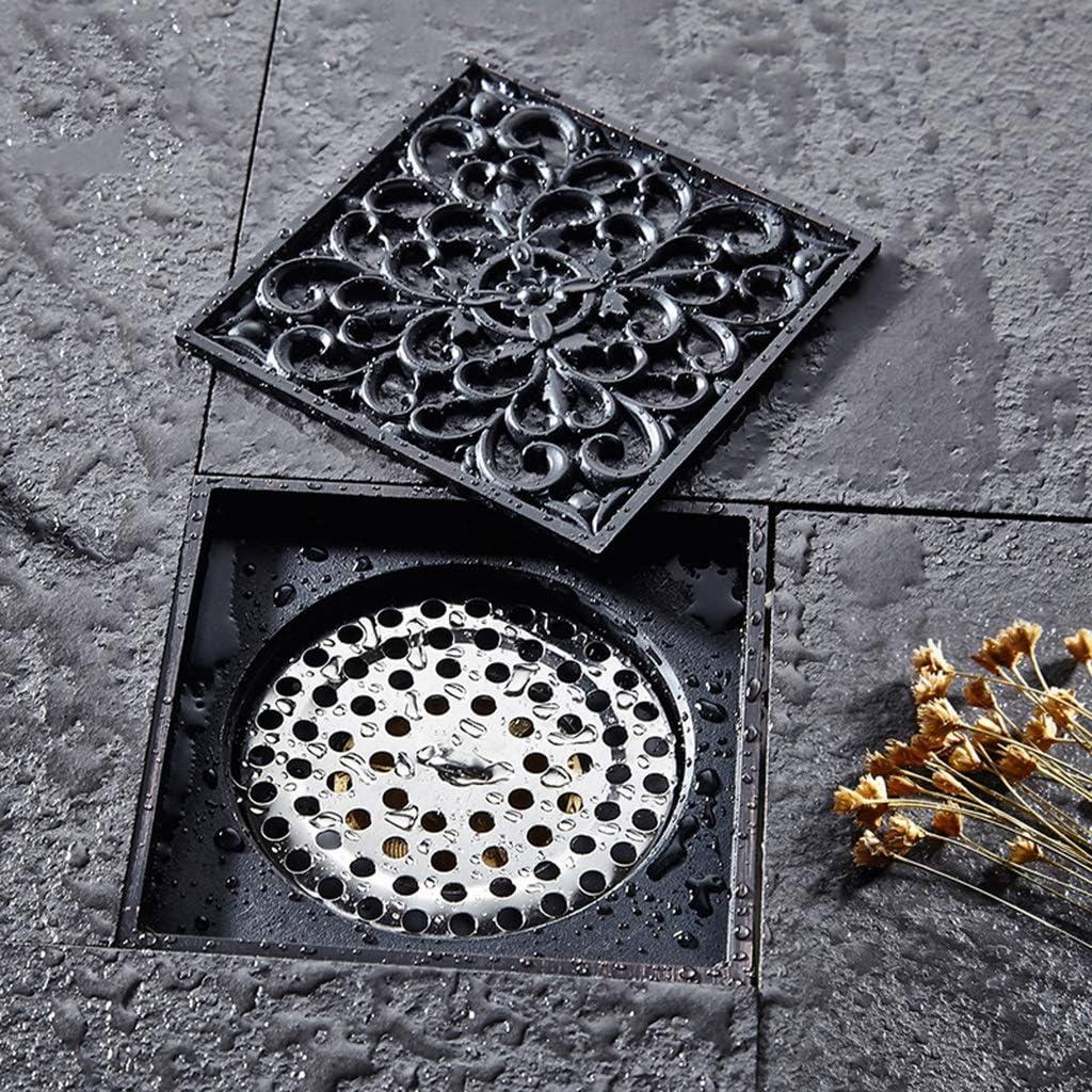 ZTHC Schwarzes Kupfer-Deodorant-Antike-Badezimmer-WC-Kanal-Waschmaschine Badezimmer-Duschraum Geschnitzter Bodenablauf-Deodorant-Sch/ädlingsbek/ämpfung