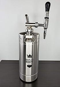 Royal Brew Nitro Cold Brew Coffee Maker Keg Kit System (Stainless Steel Silver 128 Oz)