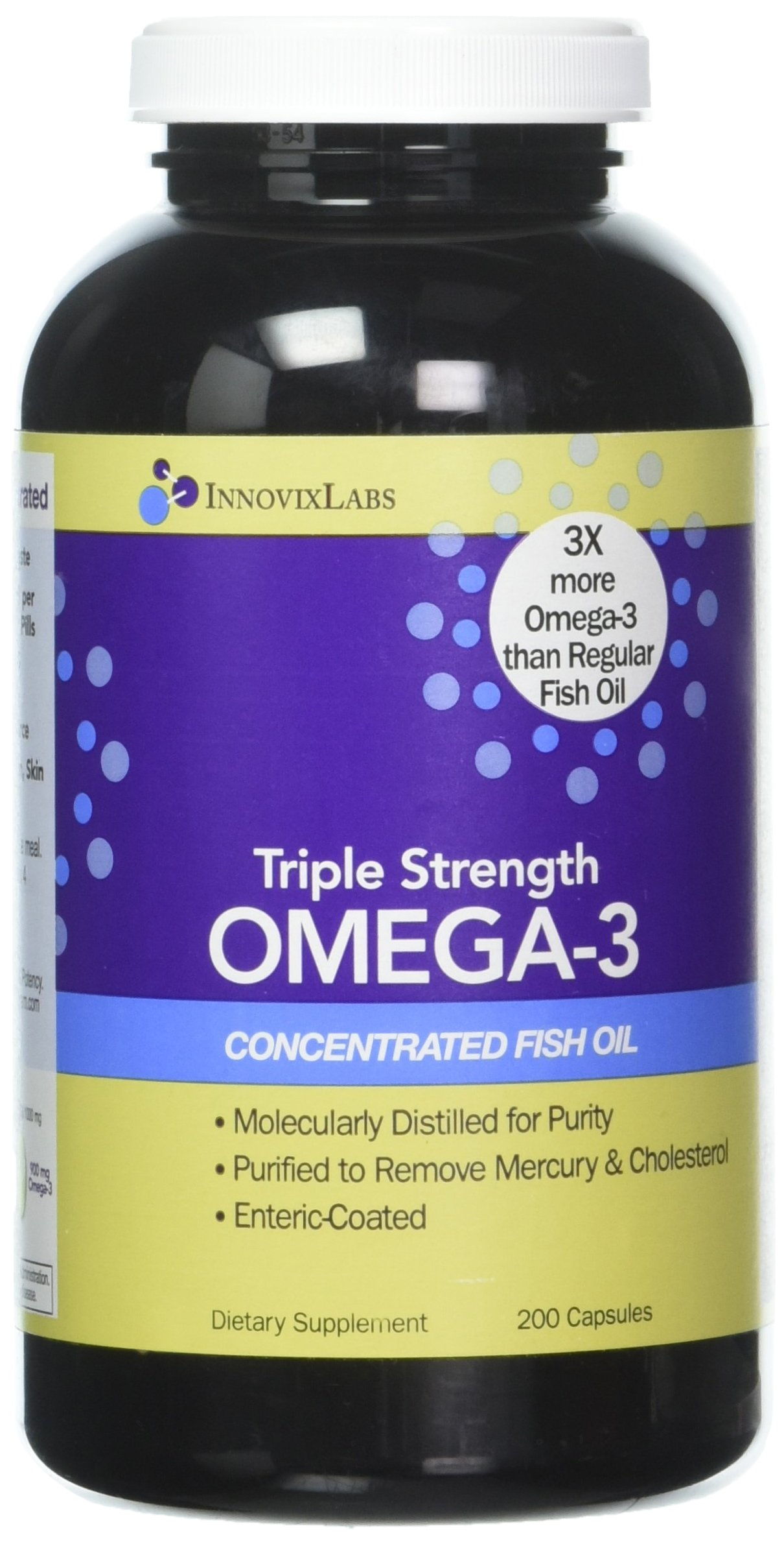 Triple Strength OMEGA-3 (by InnovixLabs). Concentrated Fish Oil, 900 mg Omega-3 per Pill. Enteric Coated, Odorless & Burp-Free. (200)