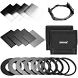 Neewer Square Lens Filter ND Filter Kit for Cokin P Series for DSLR Camera Lens:8-Piece Full and Graduated ND Filters(ND2/4/8/16, G.ND2/4/8/16),9 Adapter Rings(49-82mm),2 Carry Pouches,1 Filter Holder