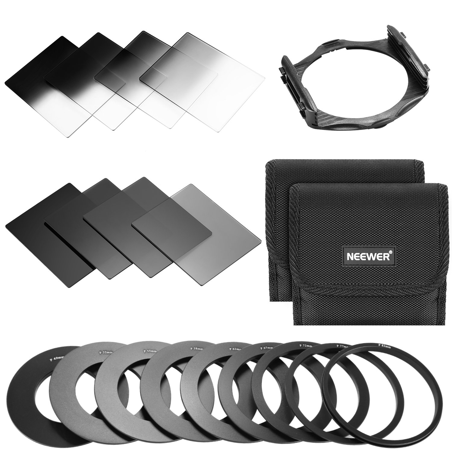 Neewer Square Lens Filter ND Filter Kit for Cokin P Series for DSLR Camera Lens:8-Piece Full and Graduated ND Filters(ND2/4/8/16, G.ND2/4/8/16),9 Adapter Rings(49-82mm),2 Carry Pouches,1 Filter Holder 10090486